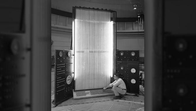 Data computing equipment at reactor at NASA Plum Brook Station circa 1960. Photo Credit: NASA