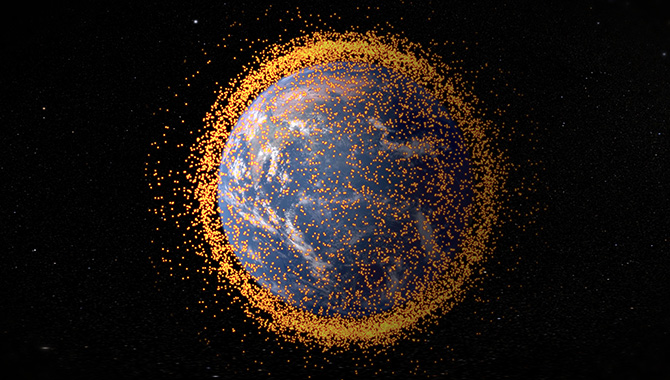 Artist's concept depicting near-Earth orbital debris field, based on real data from the NASA Orbital Debris Program Office. Photo Credit: NASA's Goddard Space Flight Center