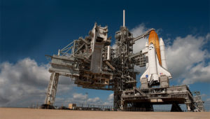 Space Shuttle Endeavour on Launch Pad 39A at NASA's Kennedy Space Flight Center in Florida, for its final flight, the STS-134 mission to the International Space Station. Photo Credit: NASA