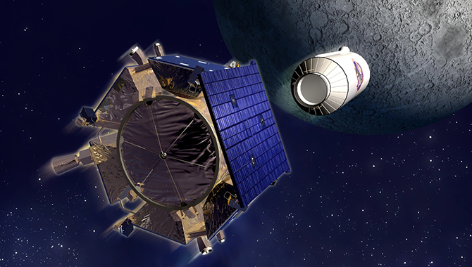 Artist's conception of Lunar CRater Observation and Sensing Satellite (LCROSS). Image Credit: NASA
