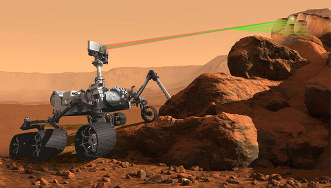 An artist's concept of the Mars 2020 Rover with SuperCam remote-sensing instrument.