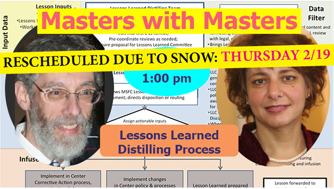 Masters with Masters with Bart Singer and Jennifer Stevens. Image Credit: NASA