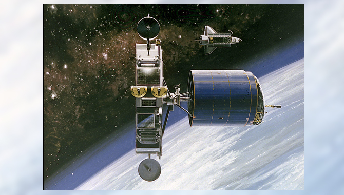 This 1986 artist's concept shows the Orbital Maneuvering Vehicle (OMV) towing a satellite. As envisioned by Marshall Space Flight Center planners, the OMV would be a remotely-controlled free-flying space tug which would place, rendezvous, dock, and retrieve orbital payloads. Image Credit: NASA
