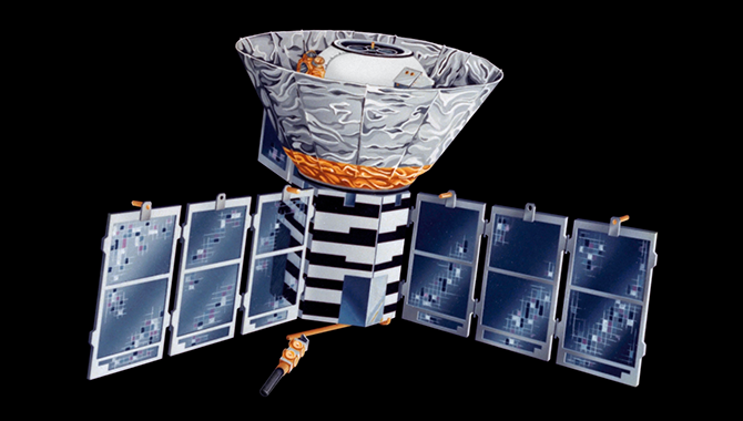 Artist's Conception- Close Up The Cosmic Background Explorer (COBE) spacecraft is the predecessor to the WMAP Project. COBE was launched by NASA into an Earth Orbit in 1989 to make a full sky map of the Cosmic Microwave Background (CMB) radiation leftover from the Big Bang. The first results were released in 1992. COBE's limited resolution (7 degree wide beam) provided the first tantilising details in a full sky image of the CMB. Photo Credit: NASA/COBE Science Team