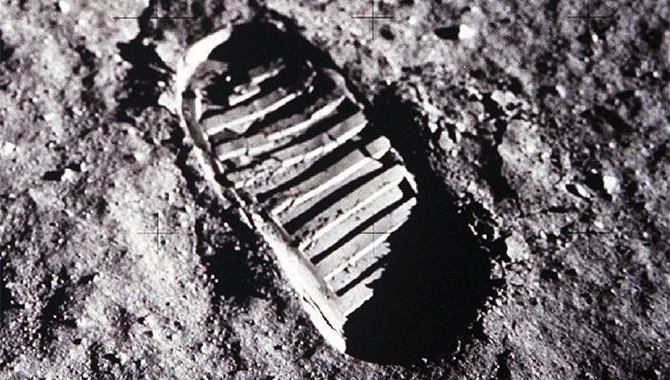 One of the first steps taken on the Moon, this is an image of Buzz Aldrin's bootprint from the Apollo 11 mission. Neil Armstrong and Buzz Aldrin walked on the Moon on July 20, 1969. Photo Credit: NASA