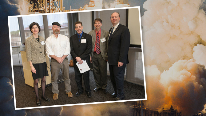Mythbuster Jamie Hyneman poses with the NASA Innovative Advanced Concepts (NIAC) program staff at the 2014 Symposium held February 4-6 at Stanford University. From left to right: Katherine Reilly, Communications & Outreach Manager; Jamie Hyneman; Jay Falker, Program Executive; Ronald Turner, Senior Science Advisor; Jason E. Derleth, Program Manager. Photo Credit: NASA Ames Research Center
