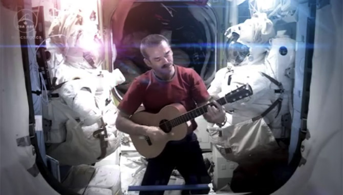 """After 2,336 orbits, 62 million miles traveled, Canadian astronaut Chris Hadfield returned from the International Space Station as a rock star of sorts. His recording of a cover of David Bowie's """"Space Oddity"""" quickly went viral. Photo Credit: Chris Hadfield"""
