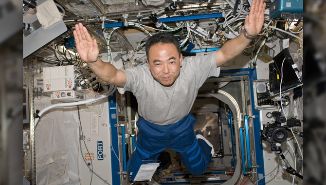 Japan Aerospace Exploration Agency astronaut Satoshi Furukawa may not be Superman, but in the microgravity of space, he can fly (well, almost). Photo Credit: NASA