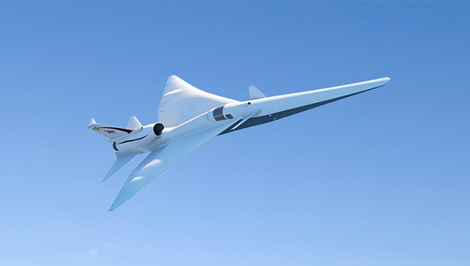 Artist's concept depicting the Low-Boom Flight Demonstrator X-plane. Credit: NASA