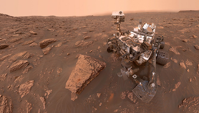 This Curiosity selfie shows the impact of the dust storm on the ground. Credit: NASA