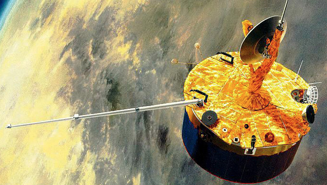 An artist's conception of the Pioneer Venus Multiprobe approaching Venus. Credit: NASA