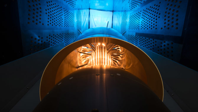 Inside the 8' x 6' wind tunnel at NASA Glenn, engineers recently tested a fan and inlet design, commonly called a propulsor, which could use four to eight percent less fuel than today's advanced aircraft.