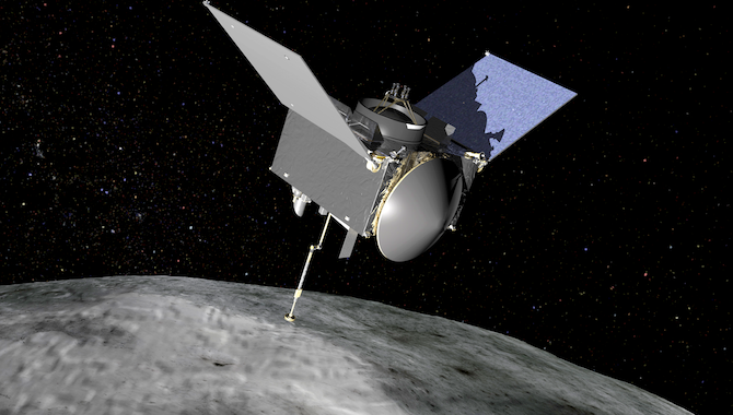 This artist's conception shows the OSIRIS-REx spacecraft extending its sampling arm as it moves in to make contact with the asteroid Bennu. Credit: NASA/GSFC