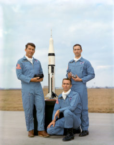 September 1968– This is a portrait of the Apollo-Saturn 7 crew members. They are, left to right, astronauts Walter M. Schirra Jr., commander; Walter Cunningham, lunar module pilot; and Donn F. Eisele, command module pilot. EDITOR'S NOTE: Since this photograph was made astronaut Eisele died Dec. 2, 1987 in Tokyo, Japan, of a heart attack. Credit: NASA