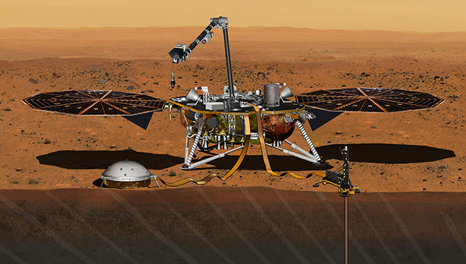 This artist's concept of the InSight lander shows the solar panels and scientific instruments deployed. Credit: NASA/JPL-Caltech