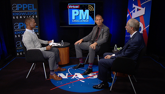 On the set of the November 15th Virtual Project Management Challenge. From left to right: Host Ramien Pierre, Thomas Zurbuchen, and William Gerstenmaier. Credit: NASA