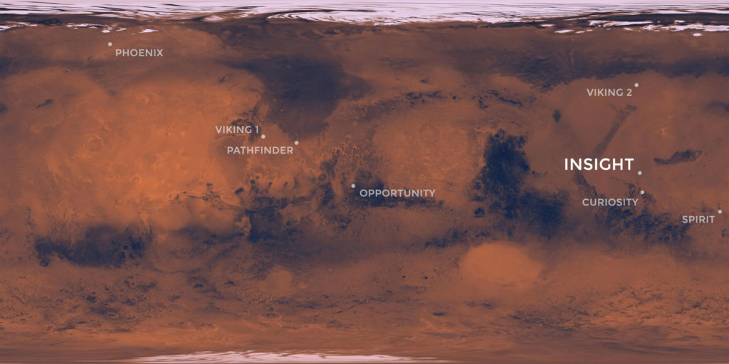 Elysium Planitia, a flat-smooth plain just north of the equator makes for the perfect location from which to study the deep Martian interior. Credit: NASA/JPL-Caltech