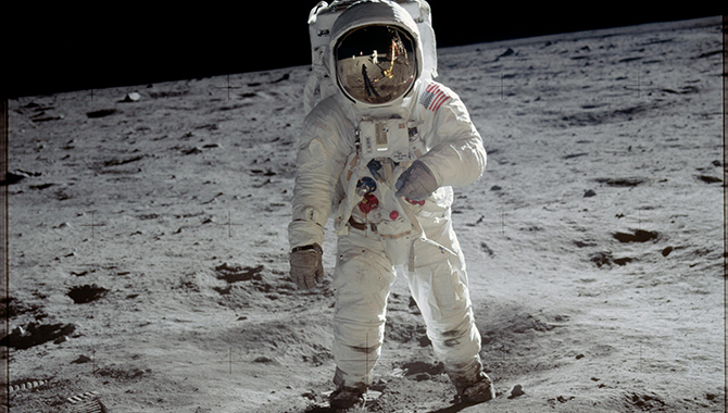 Astronaut Buzz Aldrin walks on the surface of the moon near the leg of the lunar module Eagle during the Apollo 11 mission. When NASA returns to the Moon, it will be with commercial partners. Credit: NASA