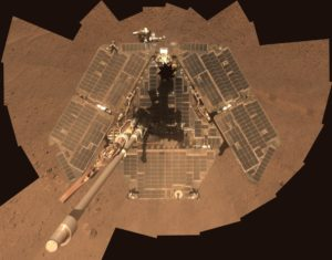 A self-portrait of NASA Mars Exploration Rover Opportunity taken by the rover panoramic camera Pancam in late March 2014 shows effects of recent winds removing much of the dust from the rover solar arrays. Credit: NASA/JPL-Caltech/Cornell Univ./Arizona State Univ.
