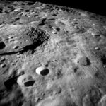 21-27 Dec. 1968–This Apollo 8 view of the lunar surface looks southward at 162 degrees west longitude, showing rugged terrain that is characteristic of the lunar farside hemisphere. Credit: NASA