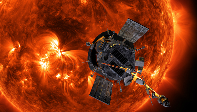 An illustration of Parker Solar Probe approaching the Sun. Credit: NASA/Johns Hopkins APL/Steve Gribben