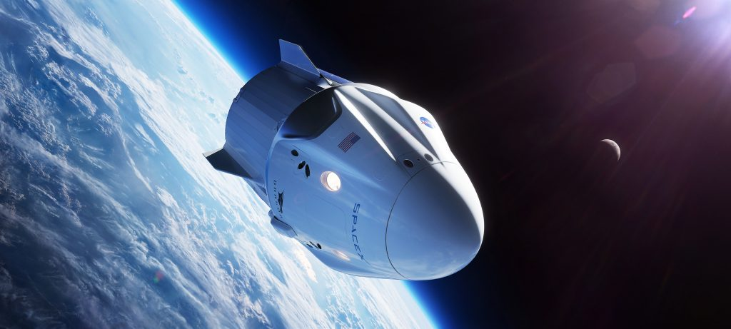In this illustration, a SpaceX Crew Dragon spacecraft is shown in low-Earth orbit. Credit: NASA