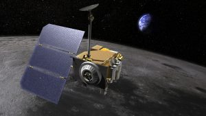 Artist rendering of the Lunar Reconnaissance Orbiter LRO, above the moon. Credit: NASA/GSFC