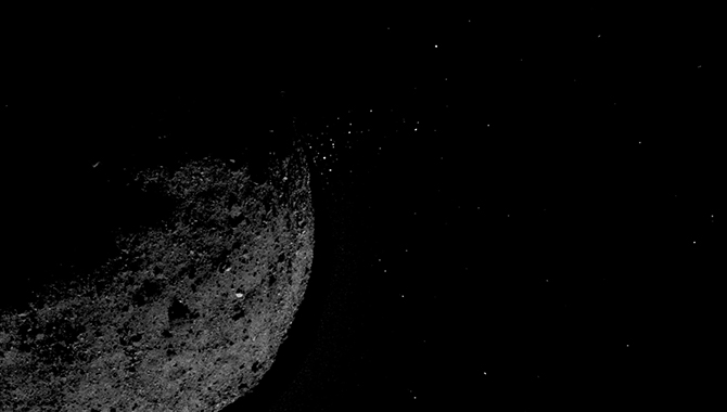 Asteroid Bennu ejecting particles from its surface on January 19, as captured by NASA's OSIRIS-REx spacecraft. Credit: NASA/Goddard/University of Arizona/Lockheed Martin