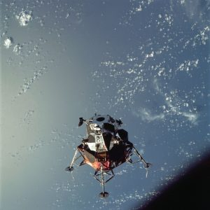 """A view of the Apollo 9 Lunar Module (LM) """"Spider"""" in a lunar landing configuration, as photographed from the Command and Service Modules (CSM) on the fifth day of the Apollo 9 Earth-orbital mission. Credit: NASA"""