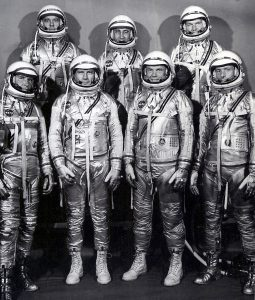 The group portrait of the original seven astronauts for the Mercury Project. Left to right at front: Walter M. Wally Schirra, Donald K. Deke Slayton, John H. Glenn, Jr., and Scott Carpenter. Left to right at rear: Alan B. Shepard, Virgil I. Gus Grissom, and L. Gordon Cooper, Jr. Credit: NASA
