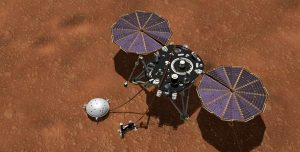 This artist's concept shows NASA's InSight lander with its instruments deployed on the Martian surface.  Credit: NASA