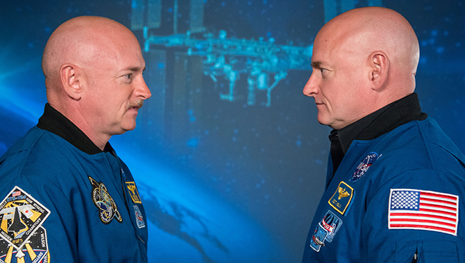 Mark Kelly (left) and twin brother Scott participated in a comprehensive study of the effects of an extended spaceflight on the human body. Credit: NASA