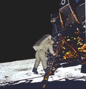 The crowning achievement for the Saturn V rocket came when it launched Apollo 11 astronauts, Neil Armstrong, Edwin (Buzz) Aldrin, and Michael Collins, to the Moon in July 1969. In this photograph, astronaut Aldrin takes his first step onto the surface of the Moon. Credit: NASA