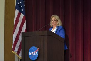 Evelyn Husband Thompson, widow of STS-107 Commander Rick Husband, speaks to NASA civil service and contractor employees and guests in Kennedy Space Center's Training Auditorium on April 12, 2019. Credit: NASA/Kim Shiflett