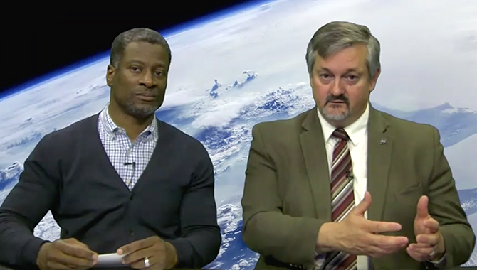 Host Ramien Pierre, left, and Kevin Rivers, Director of the Research Directorate at Langley Research Center discuss resiliency. Credit: NASA