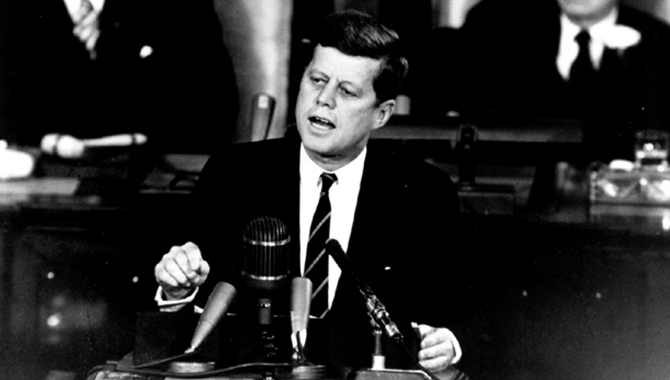 President John F. Kennedy addressed a special joint session of Congress on May 25, 1961, establishing a bold goal for the U.S. to land a human on the Moon and return him safely to Earth by the end of the decade, requesting $9.5 billion to do so. Credit: NASA