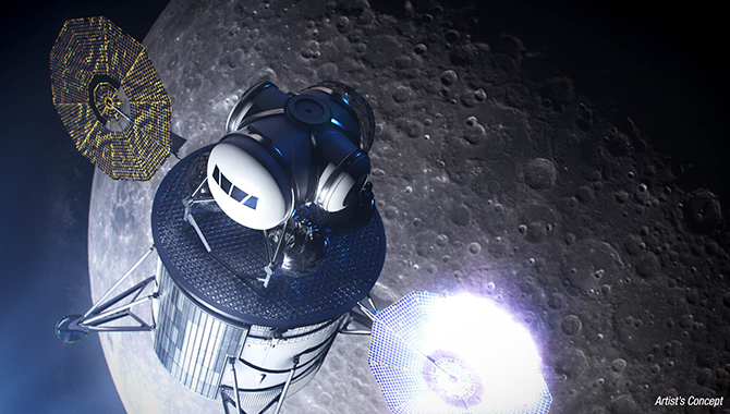 An artist's concept of the next generation human lunar landing system. Credit: NASA