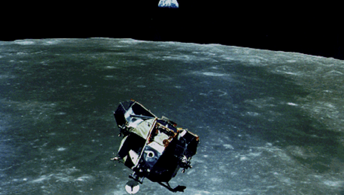 The Apollo 11 Lunar Module, as seen from the Command Module, during rendezvous in lunar orbit following its return from the Moon's surface. Credit: NASA