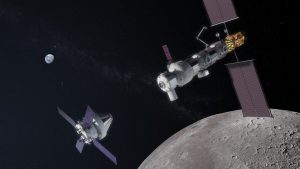 Concept image showing Orion approaching the Gateway. Credit: NASA