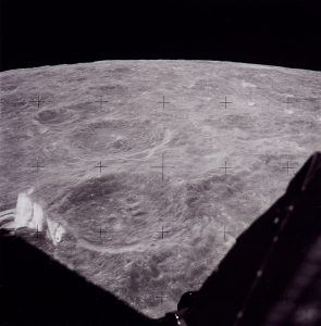 View from Lunar Module during approach to landing site. Credit: NASA