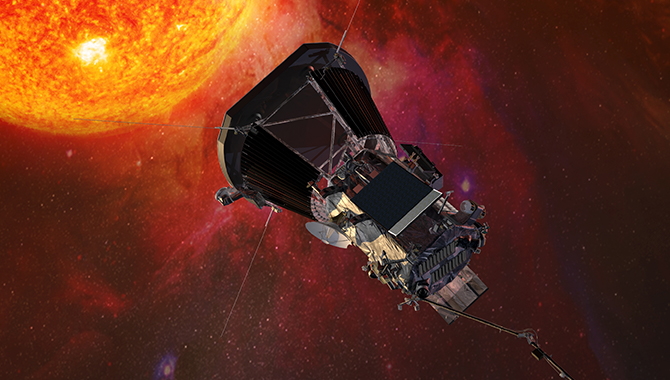 Illustration of the Parker Solar Probe spacecraft approaching the sun. Credits: Johns Hopkins University Applied Physics Laboratory