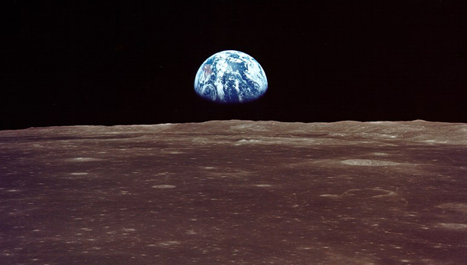 Earthrise viewed from lunar orbit during the Apollo 11. The Space Task Group suggested a Moon base as one goal of a post-Apollo space program. Credit: NASA