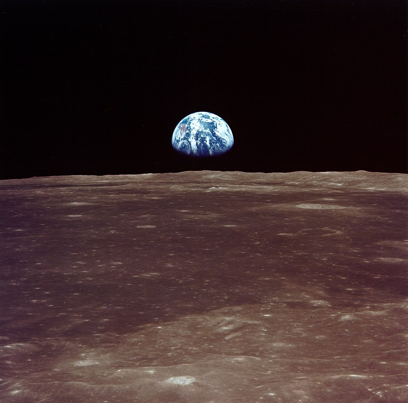 Earthrise viewed from lunar orbit during the Apollo 11. The Space Task Group suggested a Moon base as one goal of a post-Apollo space program