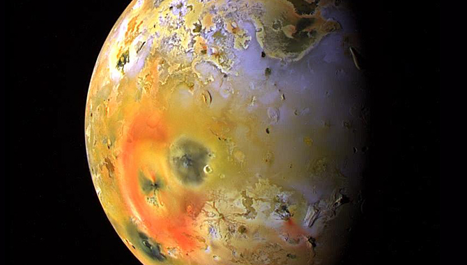 This global view of Jupiter's moon, Io, was obtained during the tenth orbit of Jupiter by NASA's Galileo spacecraft. Credit: NASA/JPL/University of Arizona