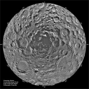 The polar regions of the moon are of special interest because of the postulated occurrence of ice in permanently shadowed areas. The south pole is of greater interest because the area that remains in shadow is much larger than that at the north pole. Credit: NASA/JPL