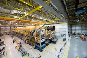 Earlier this year, engineers and technicians at NASA's Michoud Assembly Facility in New Orleans structurally mated the first of four RS-25 engines to the core stage for NASA's Space Launch System rocket that will help power the first Artemis mission to the Moon.<br /> Credit: NASA/Jude Guidry