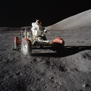 Astronaut Eugene A. Cernan, commander, makes a short checkout of the Lunar Roving Vehicle (LRV) during the early part of the first Apollo 17 extravehicular activity (EVA) at the Taurus-Littrow landing site. Credit: NASA