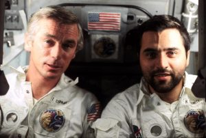 "Astronaut Eugene A. Cernan (left) and scientist-astronaut Harrison H. ""Jack"" Schmitt aboard the Apollo 17 spacecraft during the final lunar landing mission in NASA's Apollo program. Credit: NASA"