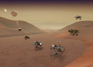 Dragonfly mission concept of entry, descent, landing, surface operations, and flight at Titan. Credit: Johns Hopkins APL