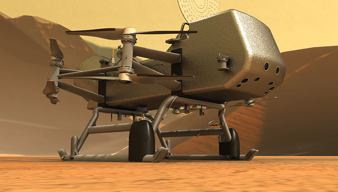 Illustration of NASA's Dragonfly rotorcraft-lander on the surface of Titan. Credit: Johns Hopkins APL